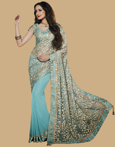Aqua Blue Color Chiffon Saree