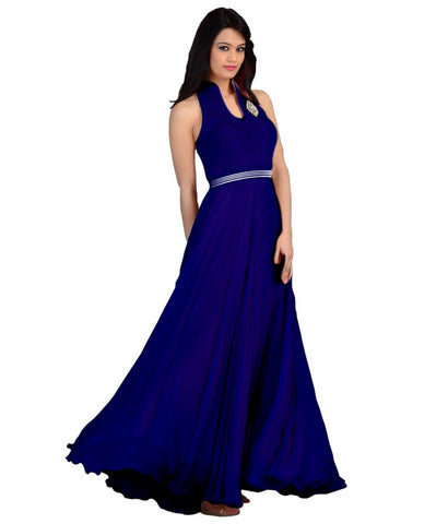 Blue Color Velvet  Fashionic Party Gown