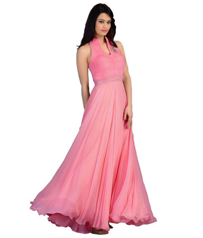 Pink Color Velvet  Fashionic Party Gown