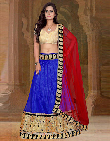 Blue Color Shimmer Lehenga