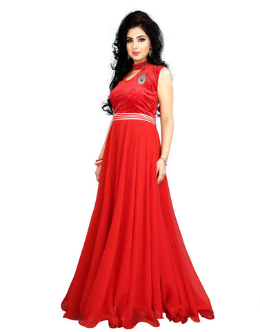 Red Color Georgette Gown