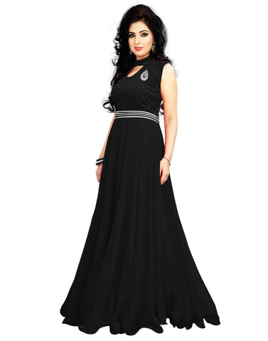Black Color Georgette Gown