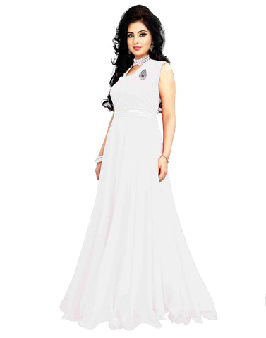 White Color Georgette Gown