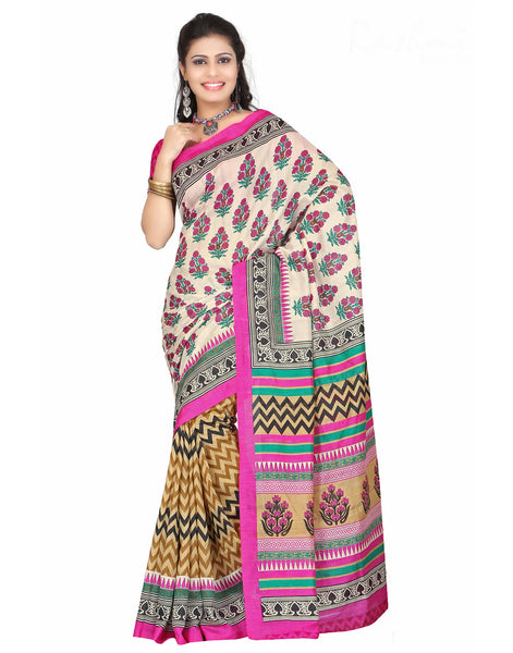 Multicolor color Bhagalpuri Saree