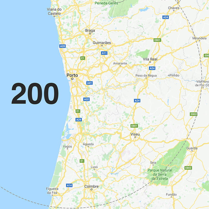 200 km around Porto