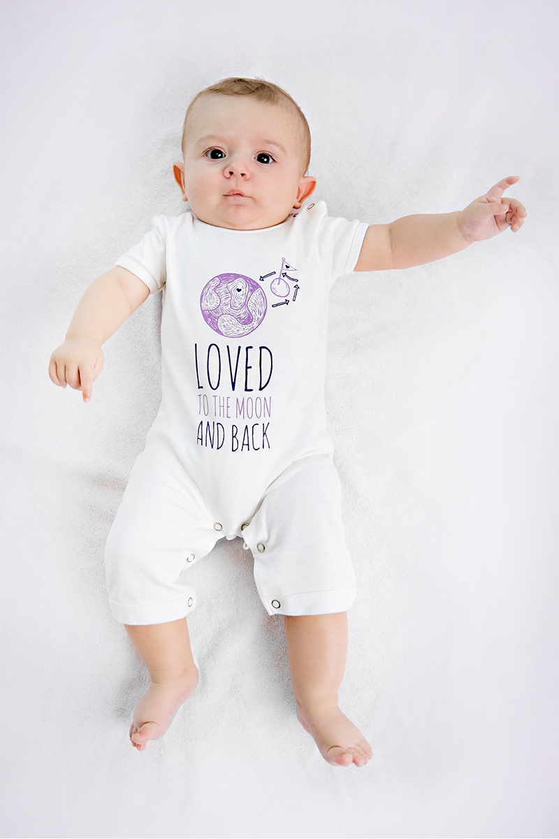 unisex moon and back romper