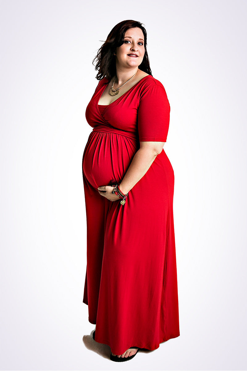 Plus size red maternity maxi dress