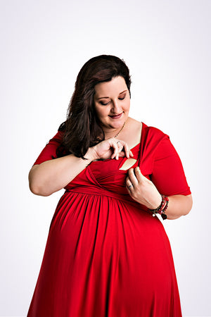 plus size breastfeeding dress red