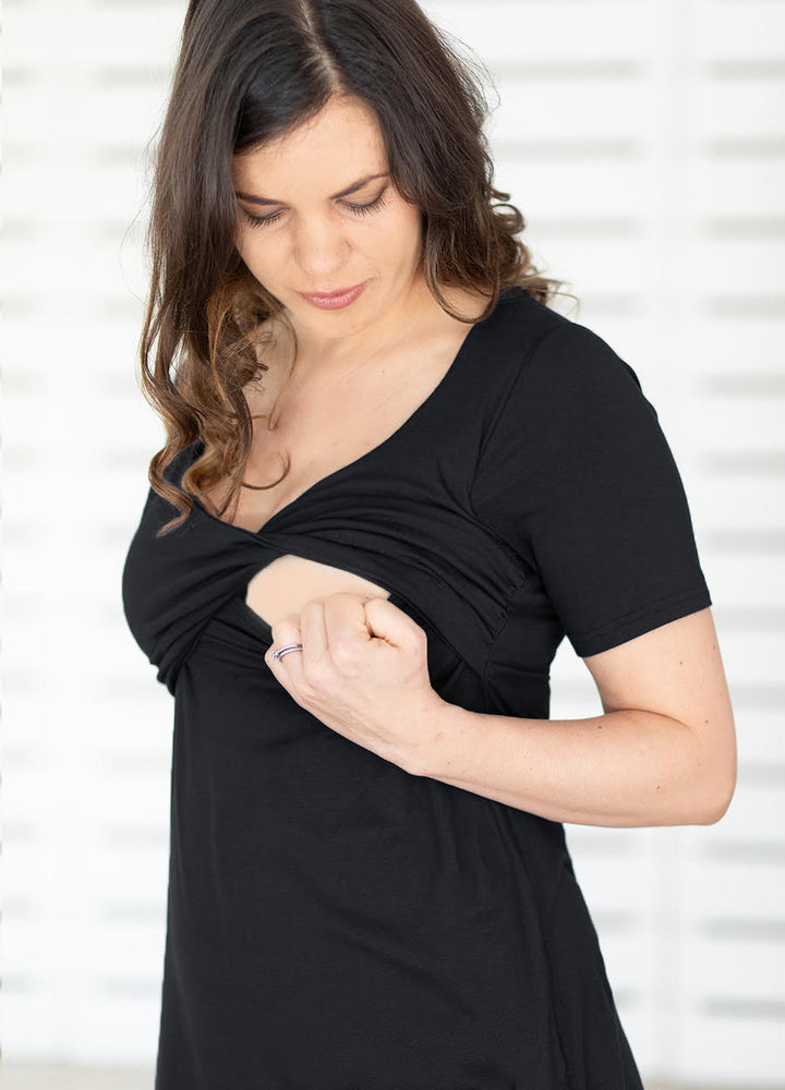 TwisTee Maternity & Feeding Top Short Sleeved - Black - Lonzi&Bean Maternity