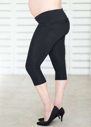 ComfiMum Cropped Leggings – Black - Lonzi&Bean Maternity