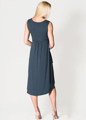Hi-Lo Maternity Dress - Charcoal&Lilac - Lonzi&Bean Maternity