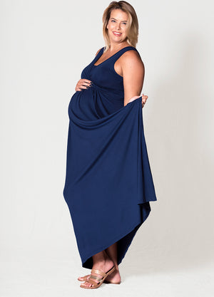 MaxiMum Maternity & Feeding Dress - Navy - Lonzi&Bean Maternity