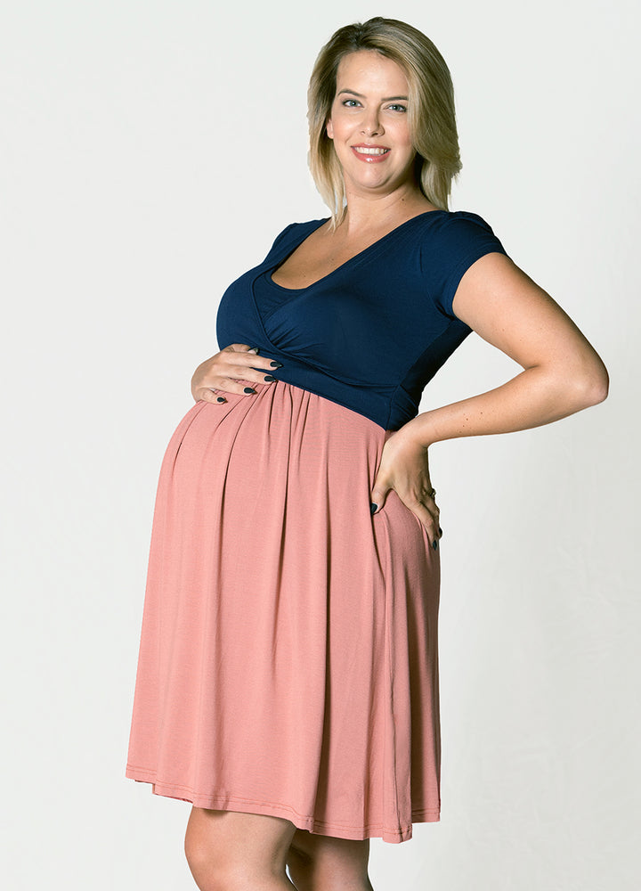 UltiMum Dress Short Sleeved - Rose&Navy - Lonzi&Bean Maternity