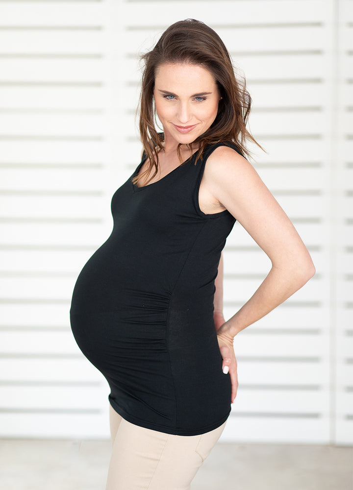 Essentials Maternity Vest - Black - Lonzi&Bean Maternity