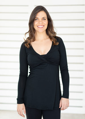 Twisty Feeding Top Long Sleeved - Black - Lonzi&Bean Maternity