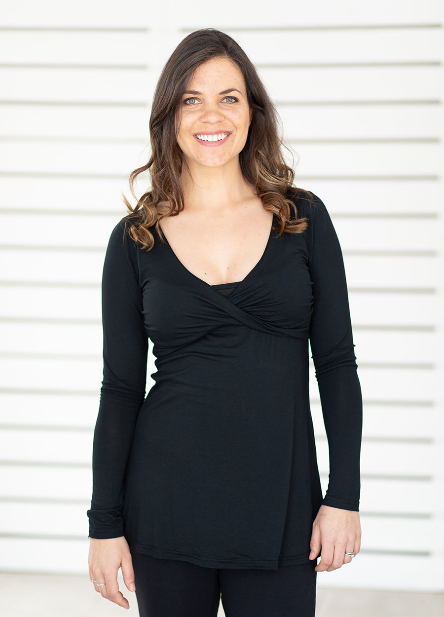 TwisTee Feeding Top Long Sleeved - Black - Lonzi&Bean Maternity