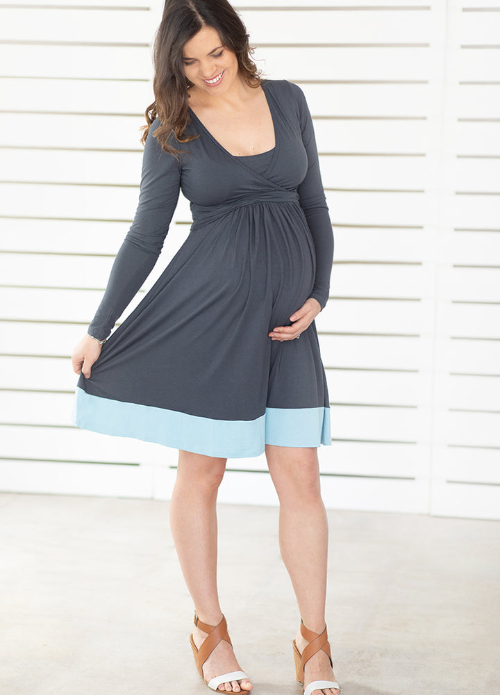 UltiMum Dress Long Sleeved - Charcoal-Duckegg - Lonzi&Bean Maternity