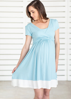 UltiMum Dress Short Sleeved - Duckegg&Vanilla - Lonzi&Bean Maternity