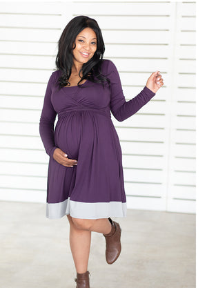 UltiMum Maternity & Feeding Dress Long Sleeved - Indigo&Ash - Lonzi&Bean Maternity