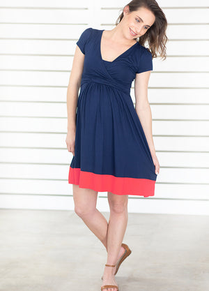 UltiMum Dress Short Sleeved - Navy&Coral - Lonzi&Bean Maternity