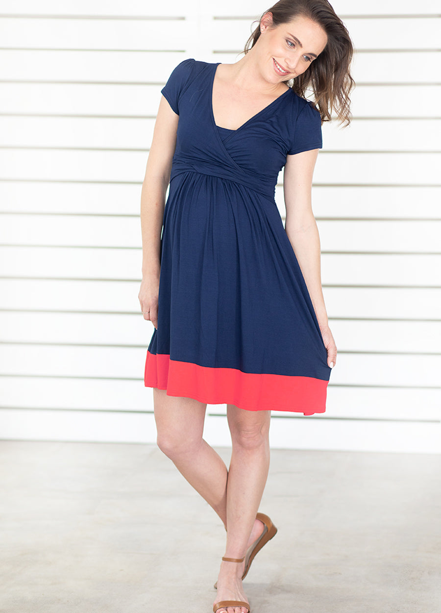 UltiMum Dress Short Sleeved - Navy-Coral