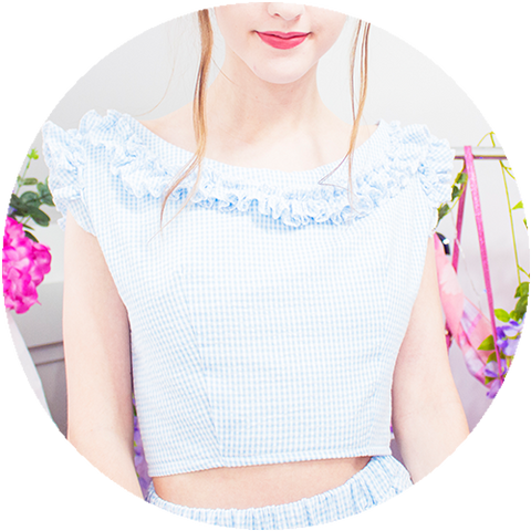 POWDER ruffle top | BLUE