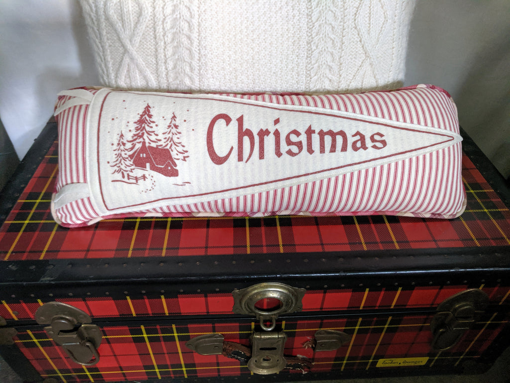 Christmas pennant pillow red stripe