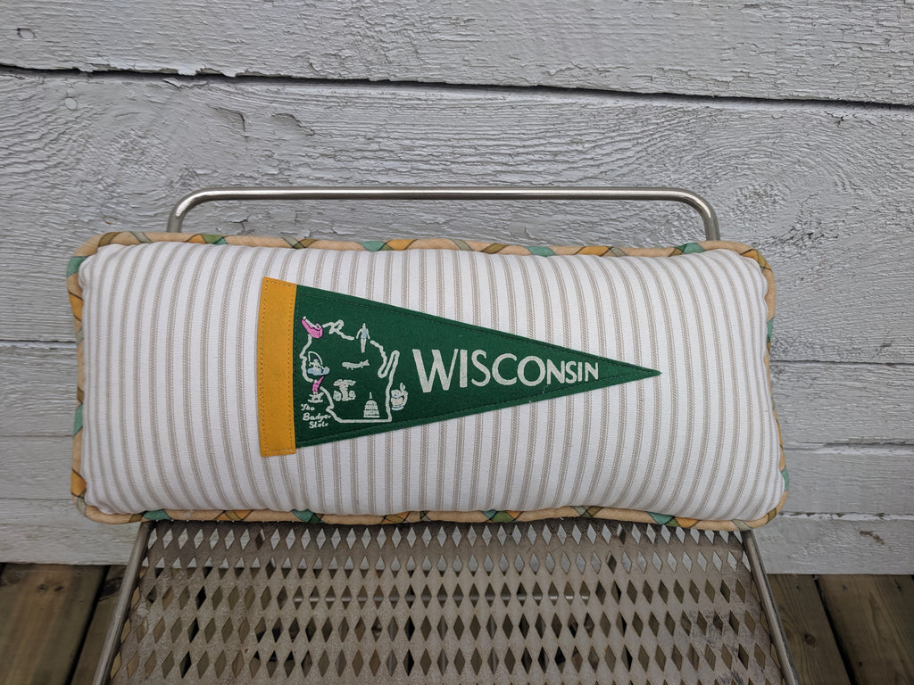 Wisconsin vintage pennant pillow