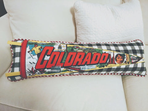 Colorado Vintage Pennant Pillow