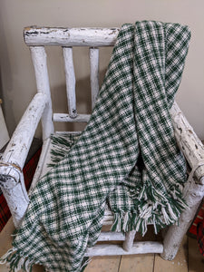 Green And Cream Check Blanket