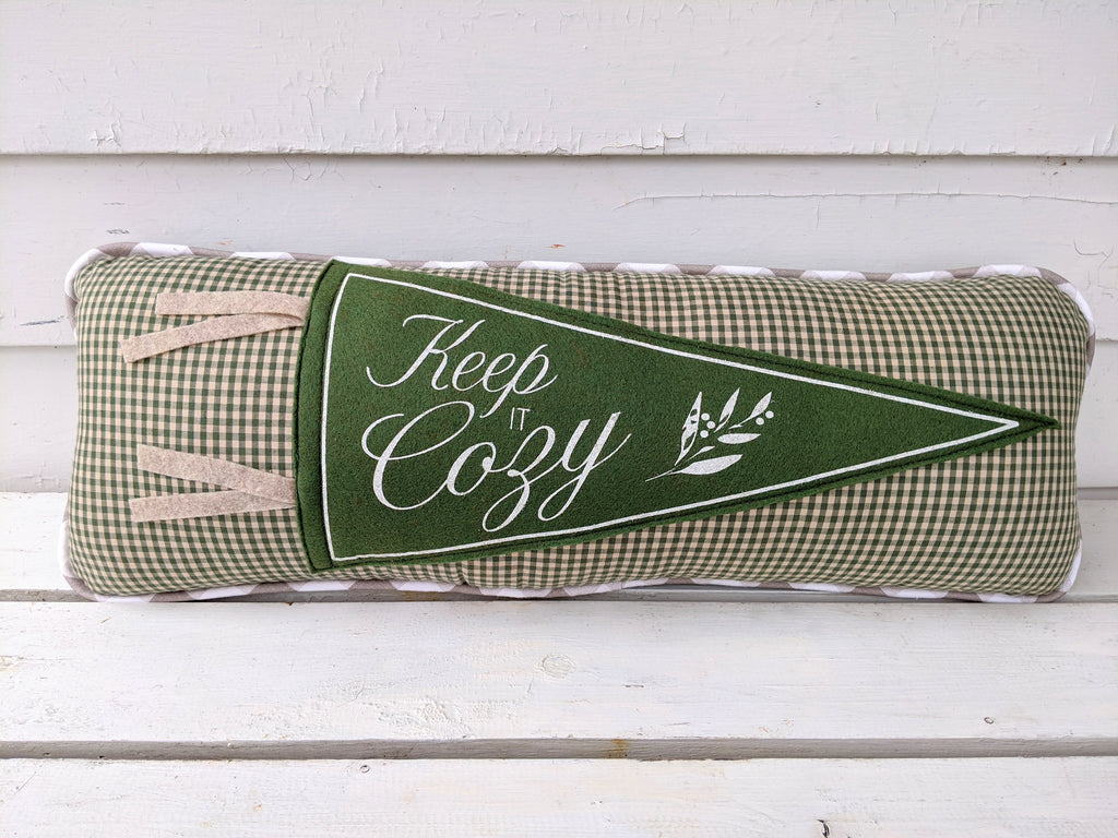 Keep it Cozy Green Check Pennant Pillow