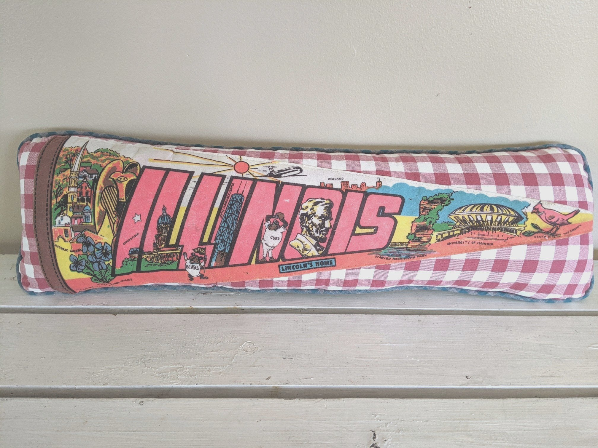 Illinois Vintage Pennant Pillow