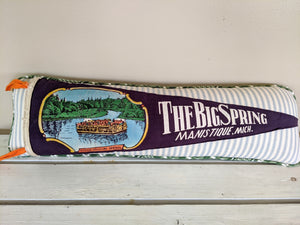 Manistique, Mich. The Big Springs Vintage Pennant Pillow