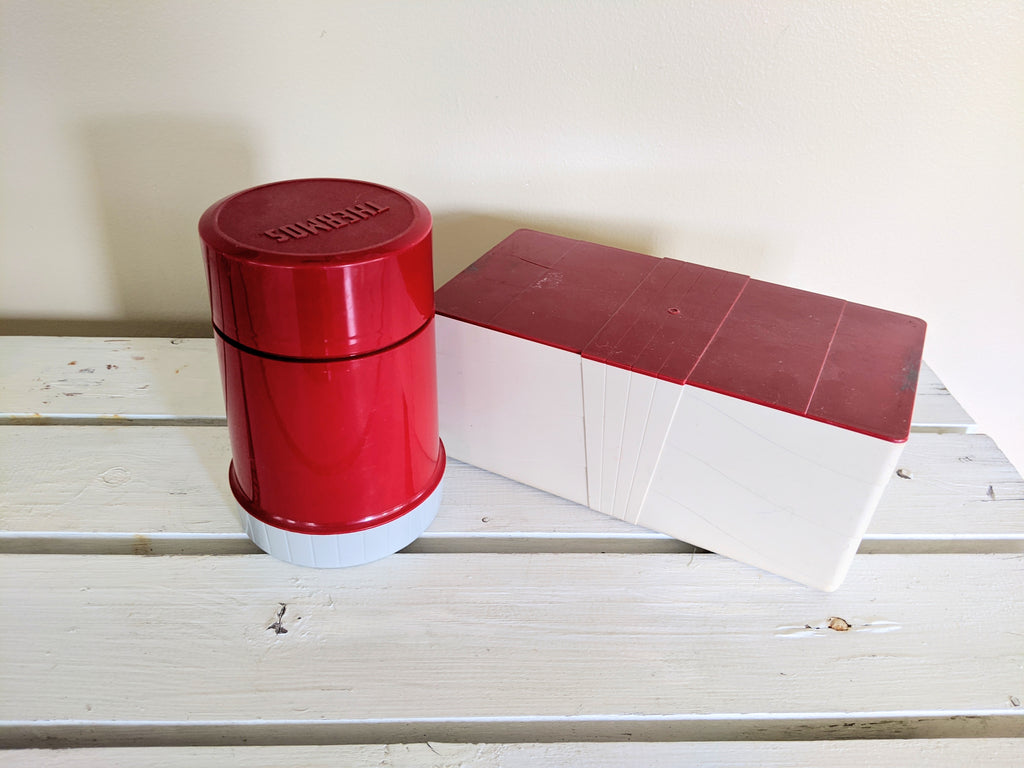 Vintage Red Thermos and Vintage Snack Container