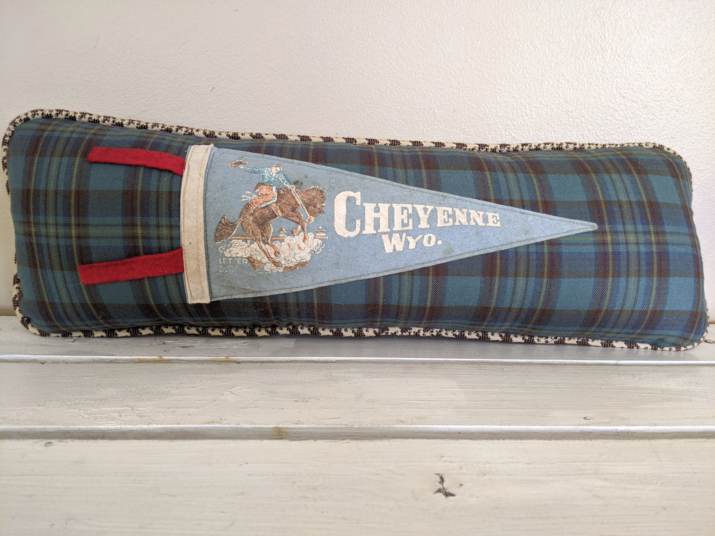 Wyoming, Cheyenne Vintage Pennant Pillow