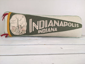 Indiana Indianapolis Vintage Pennant Pillow