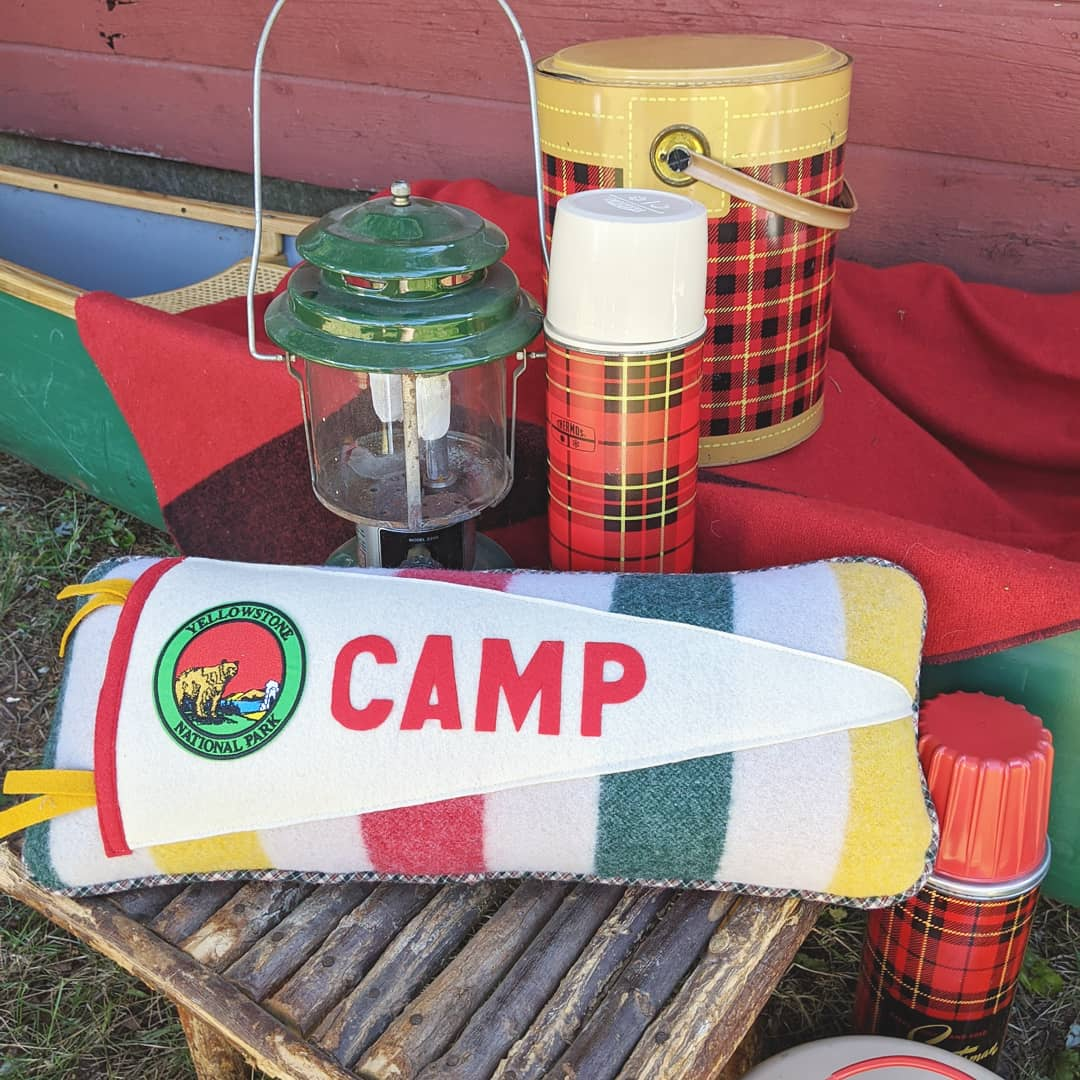 Camp vintage blanket pennant pillow