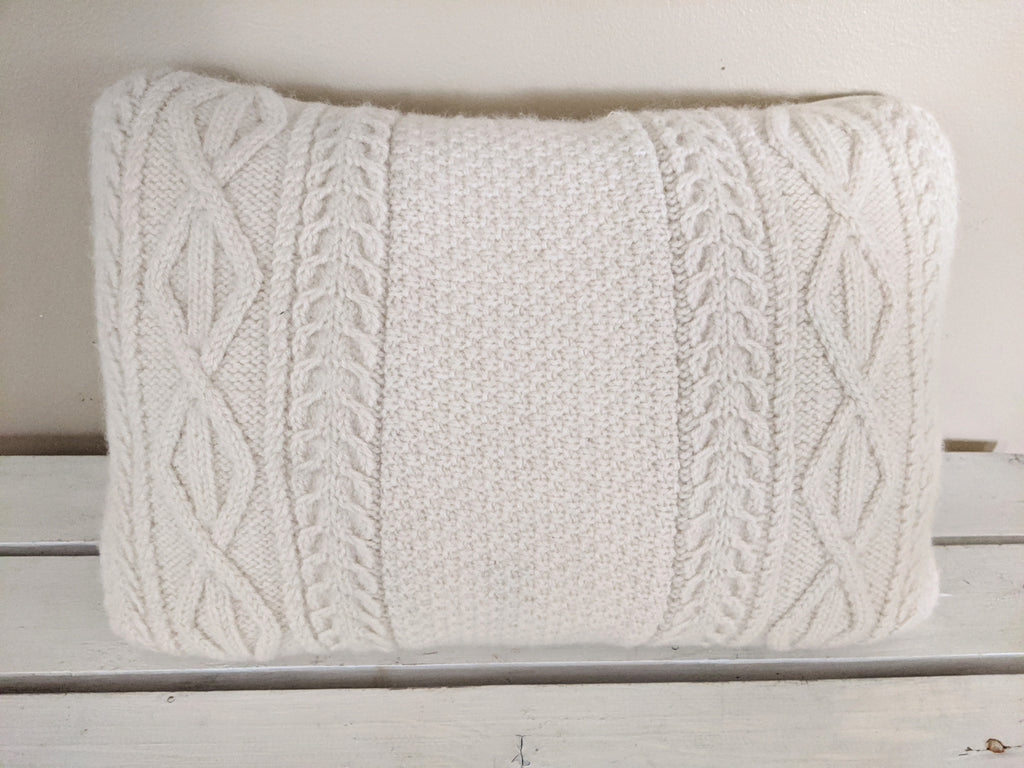 Cable knit sweater pillow