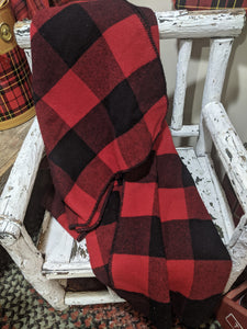Wool red and black Buffalo plaid blanket