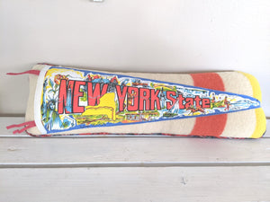 New York vintage pennant pillow