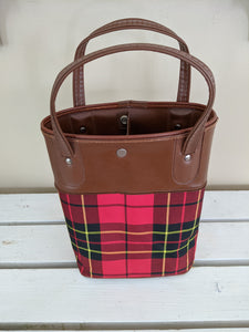 Red plaid vintage tote bag