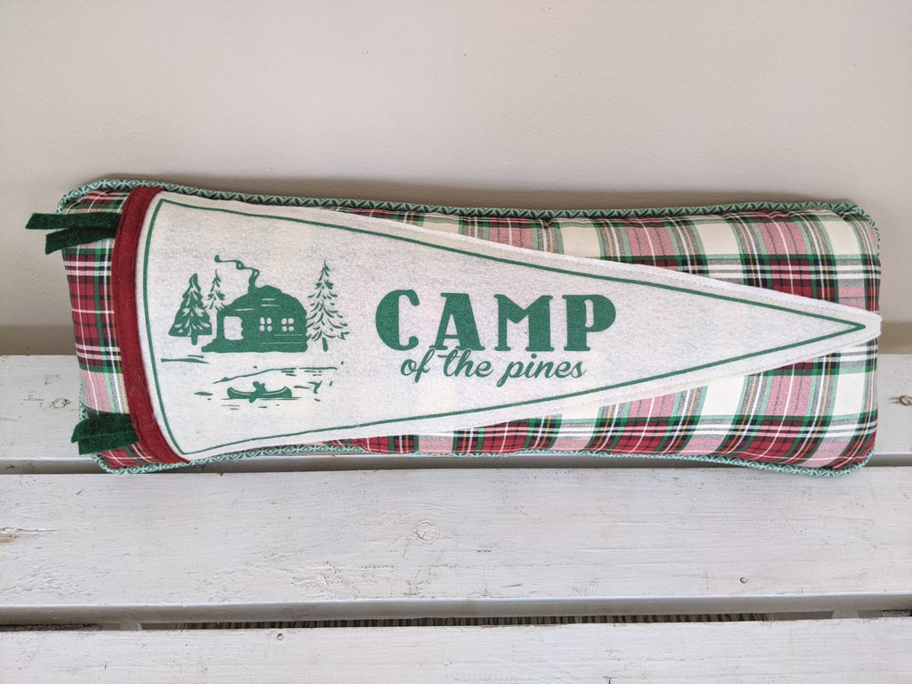 CAMP of the Pines pennant pillow