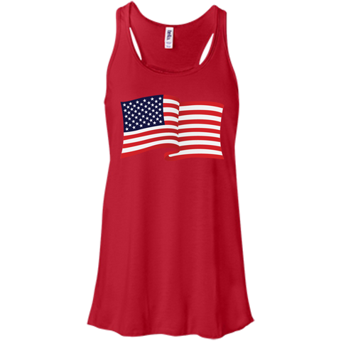 USA Flag In The Wind Show Your Pride Flowy Racerback Tanks