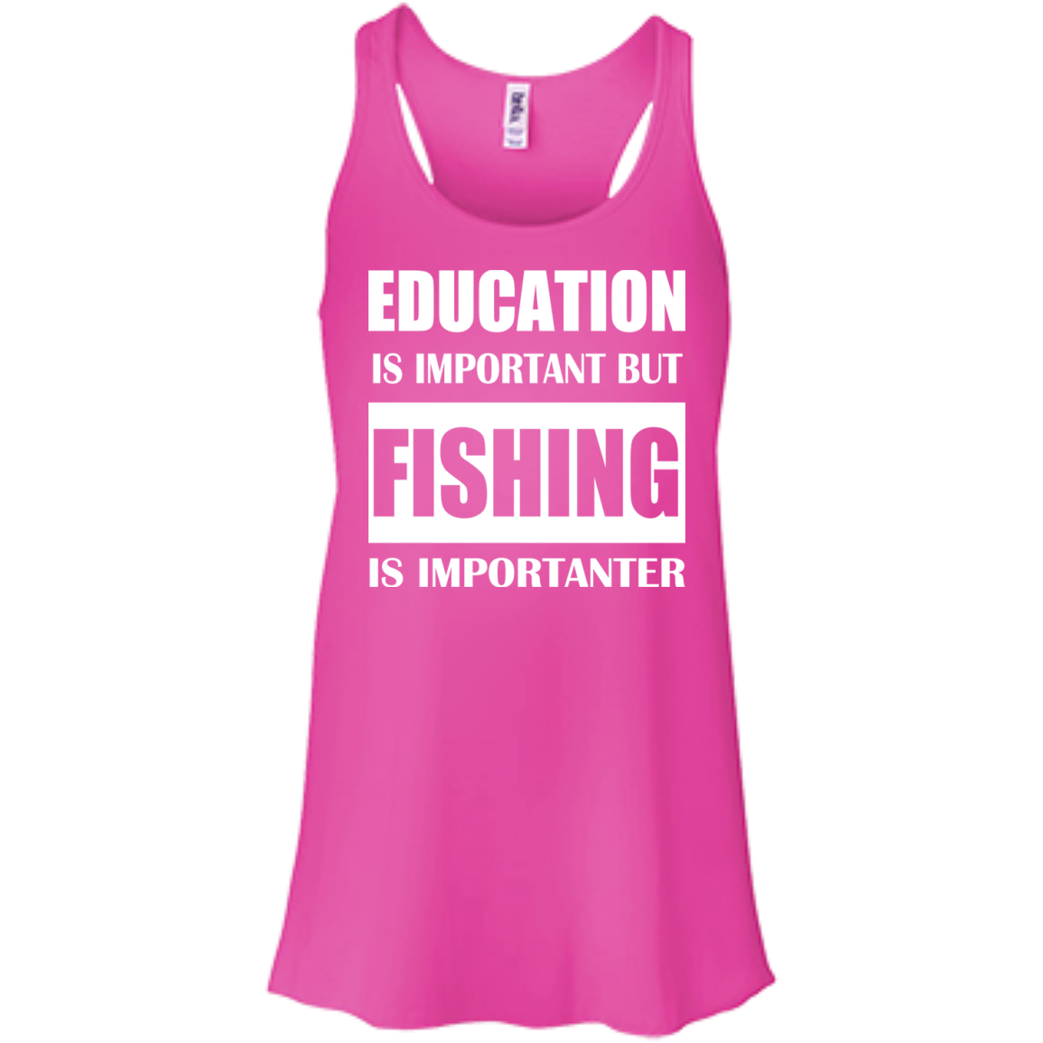 Education Is Important But Fishing Is Importanter Flowy Racerback Tanks