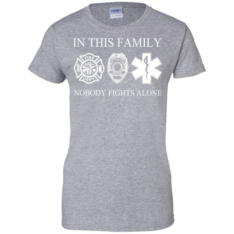 In This Family Nobody Fights Alone Ladies Tees