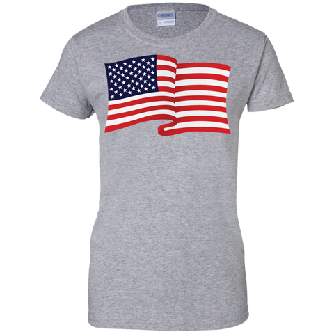 USA Flag In The Wind Show Your Pride Ladies Tees