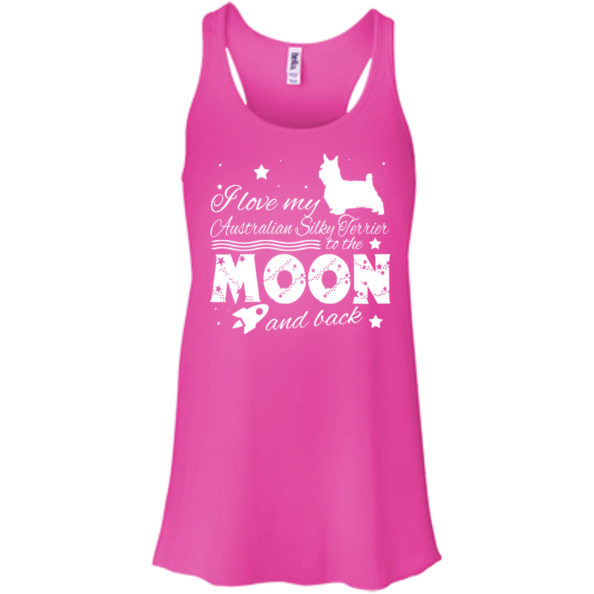 Love My Australian Silky Terrier To The Moon And Back Flowy Racerback Tanks