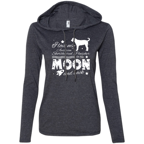 Love My Australian Shorthaired Pinscher To The Moon And Back Ladies Tee Shirt Hoodies