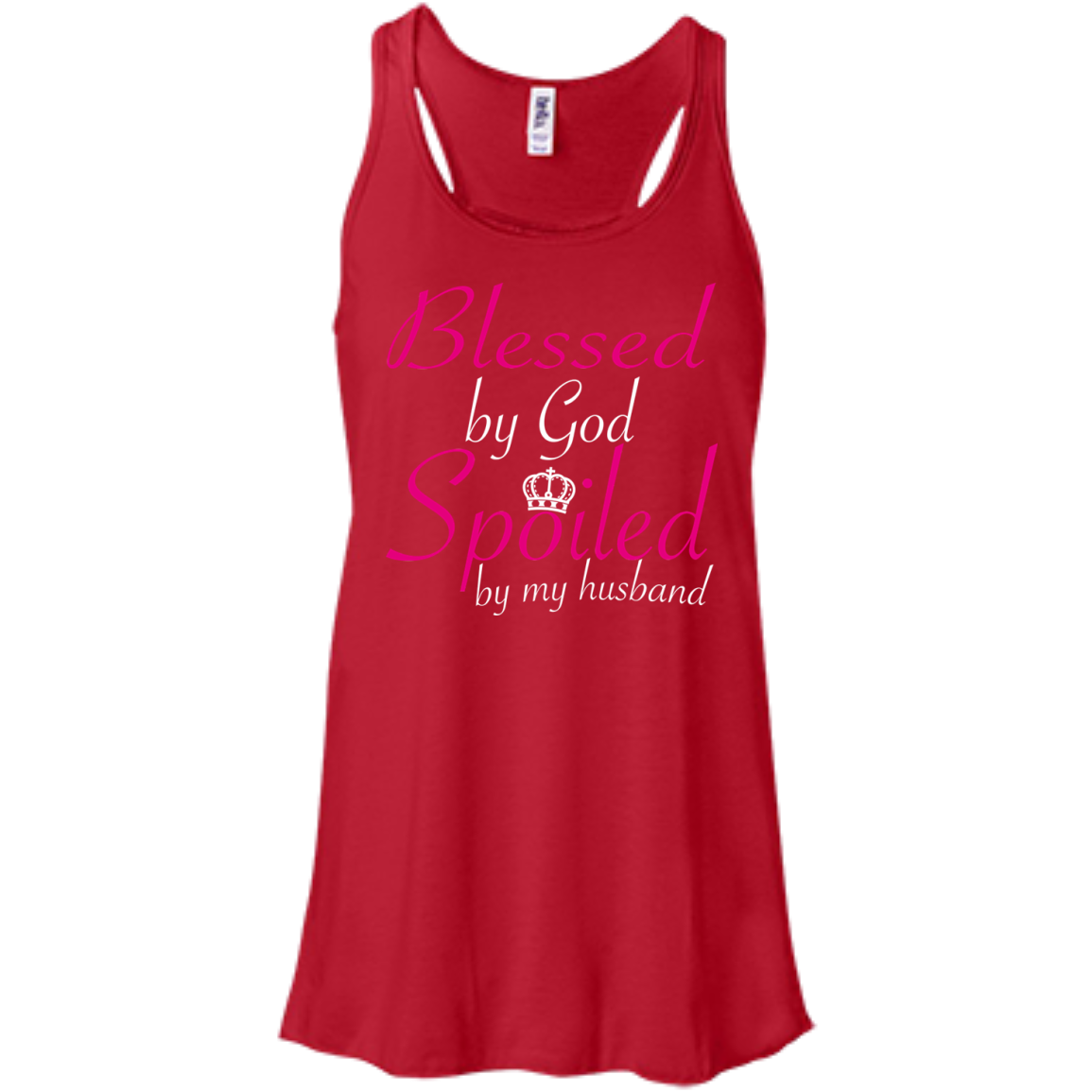 Blessed By God Spoiled By My Husband Flowy Racerback Tanks