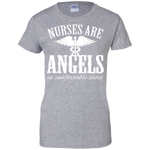Nurses Are Angels In Comfortable Shoes Ladies Tees